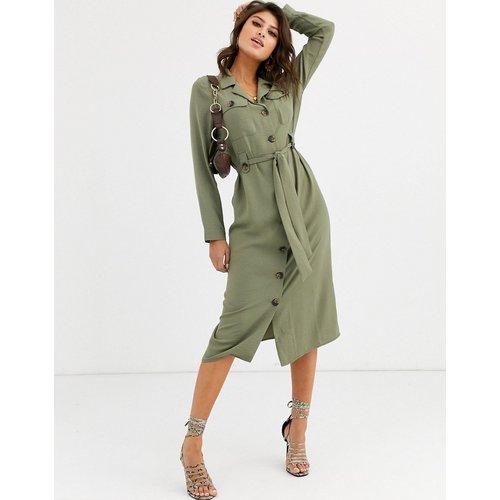 Robe chemise mi-longue fonctionnelle boutonnée - Kaki clair - ASOS DESIGN - Modalova