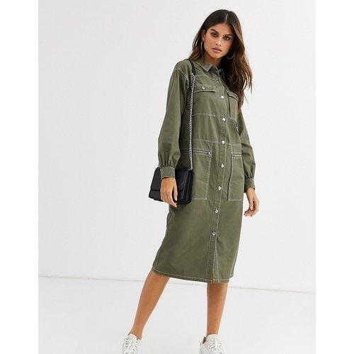 Robe chemise mi-longue fonctionnelle - Kaki - ASOS DESIGN - Modalova