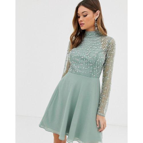 Robe courte avec corsage linéaire orné et jupe portefeuille - ASOS DESIGN - Modalova