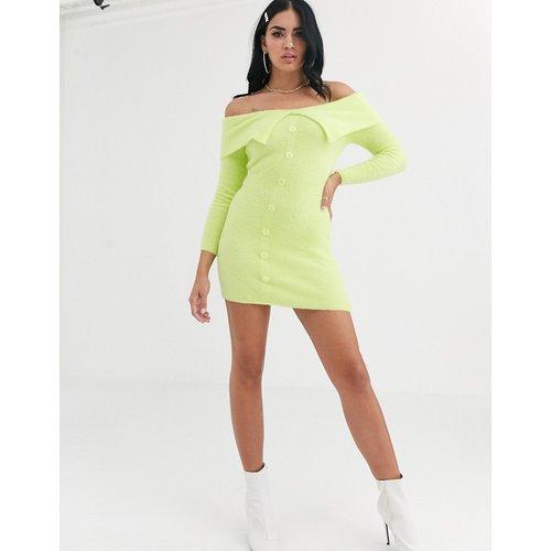 Robe courte Bardot en maille duveteuse - ASOS DESIGN - Modalova