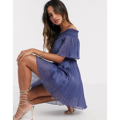 Robe courte Bardot froncée - ASOS DESIGN - Modalova