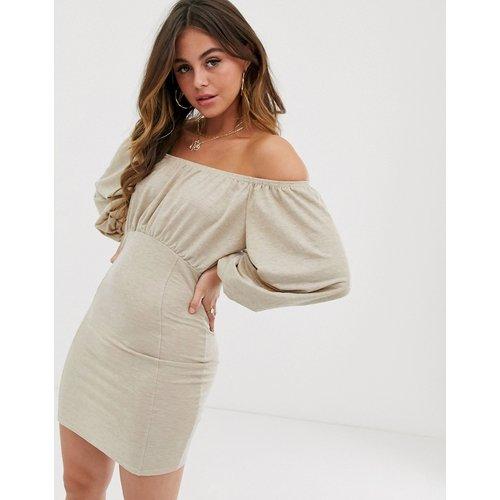 Robe courte en lin style Bardot - ASOS DESIGN - Modalova
