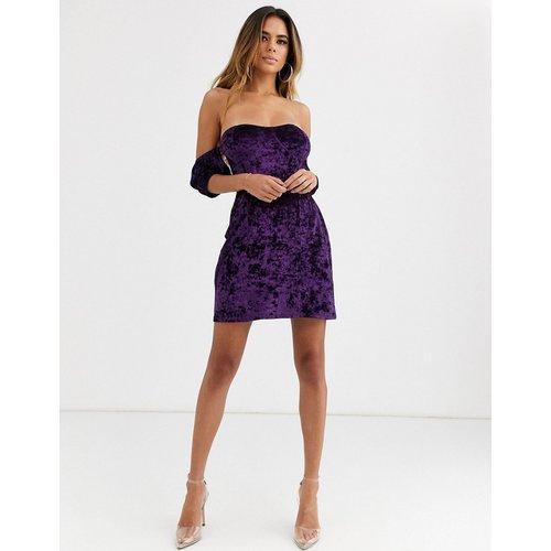 Robe courte en velours à épaules dénudées - Violet - ASOS DESIGN - Modalova