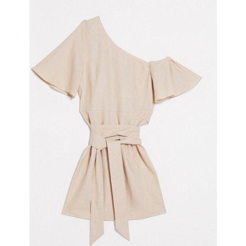 Robe courte épaules tombantes en lin - Taupe - ASOS DESIGN - Modalova
