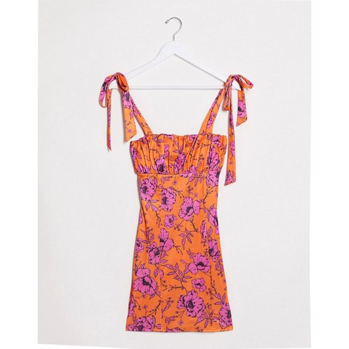 Robe courte moulante en satin à imprimé floral - ASOS DESIGN - Modalova