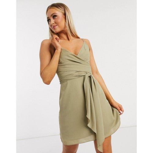 Robe courte portefeuille caraco nouée à la taille - Kaki doux - ASOS DESIGN - Modalova