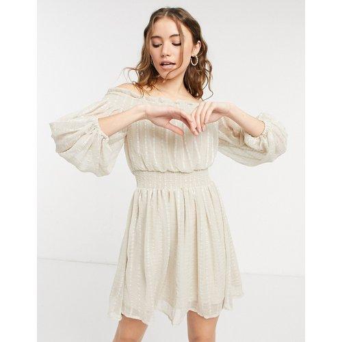 Robe courte rayée à épaules dénudées avec manches blouson - ASOS DESIGN - Modalova