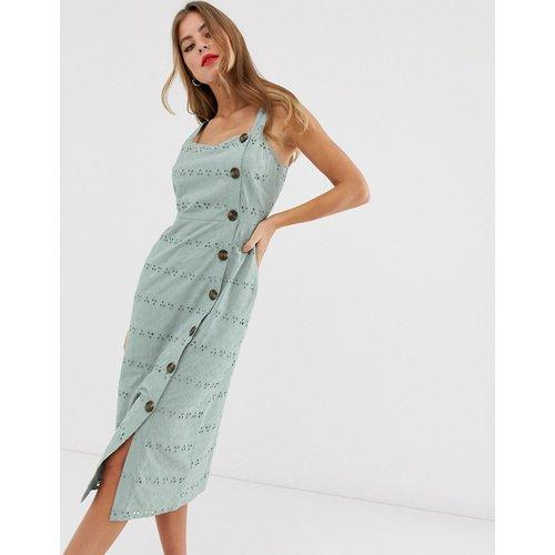 Robe d'été mi-longue boutonnée à motif palmier brodé - ASOS DESIGN - Modalova
