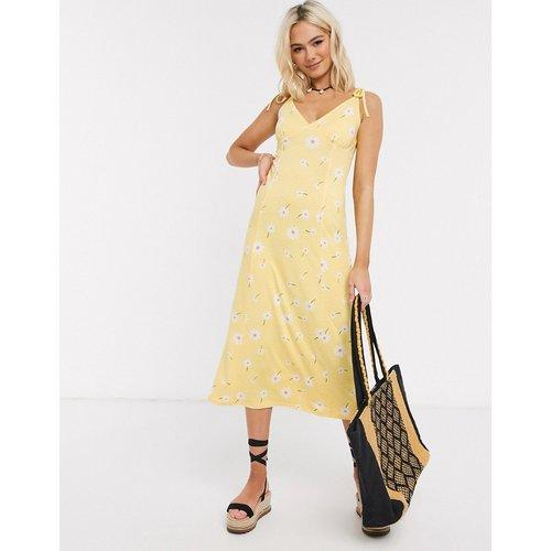 Robe d'été mi-longue imprimé fleuri avec bretelles fines nouées sur les épaules - ASOS DESIGN - Modalova