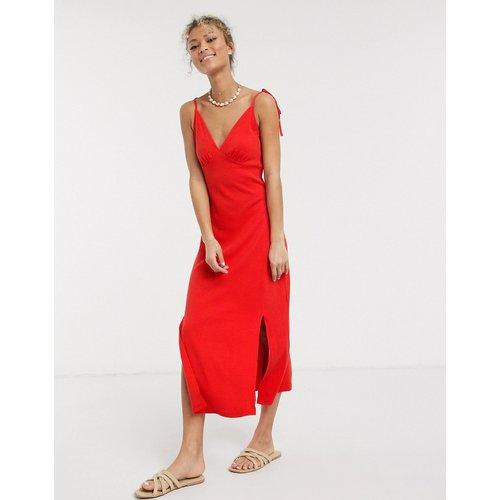 Robe d'été mi-longue style caraco côtelée - ASOS DESIGN - Modalova