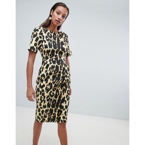 Robe fourreau mi-longue à imprimé léopard - ASOS DESIGN - Modalova