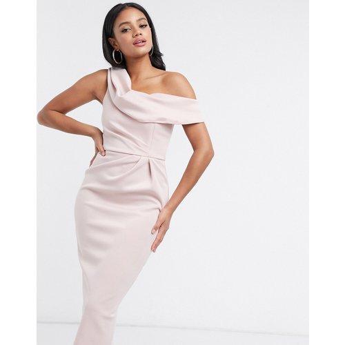 Robe fourreau mi-longue drapée à épaules tombantes - Blush pastel - ASOS DESIGN - Modalova
