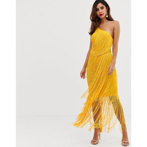 Robe longue asymétrique avec franges et effet drapé - ASOS DESIGN - Modalova