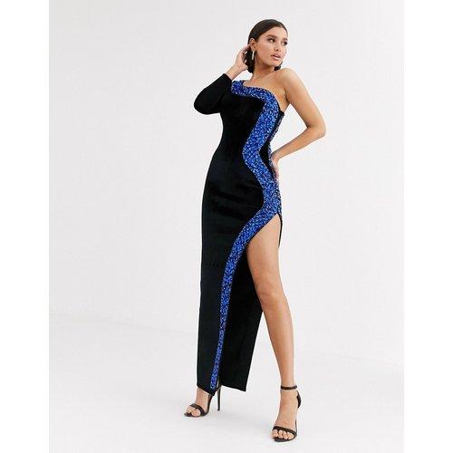 Robe longue asymétrique fendue en velours avec bordure ornée - ASOS DESIGN - Modalova