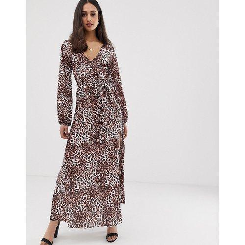 Robe longue ceinturée avec jupe plissée imprimé léopard - ASOS DESIGN - Modalova