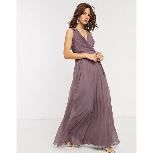 Robe longue coupe cache-cœur avec liens à la taille et jupe plissée - ASOS DESIGN - Modalova