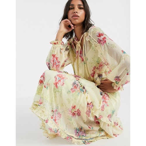 Robe longue fluide boutonnée à imprimé floral vintage - ASOS DESIGN - Modalova