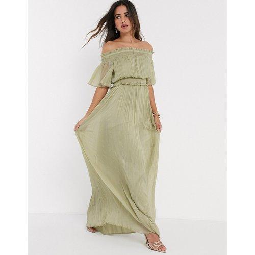 Robe longue froncée style Bardot - sauge - ASOS DESIGN - Modalova