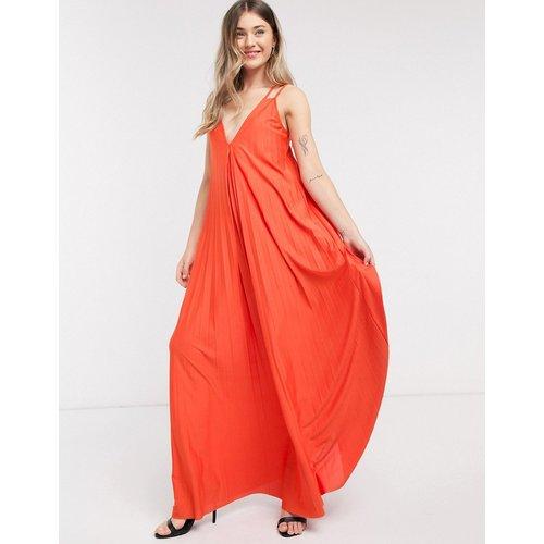 Robe longue plissée coupe trapèze à bretelles doubles - Orange - ASOS DESIGN - Modalova