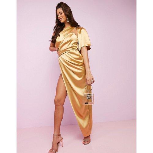 Robe longue premium luxueuse asymétrique en satin effet drapé avec armatures dissimulées - ASOS DESIGN - Modalova