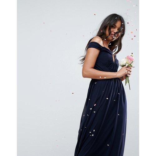 Robe longue style Bardot en tulle froncé - ASOS DESIGN - Modalova