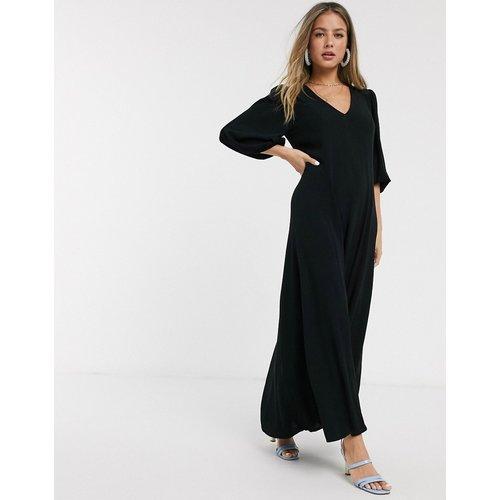 Robe longue trapèze effet froissé avec manches bouffantes - ASOS DESIGN - Modalova
