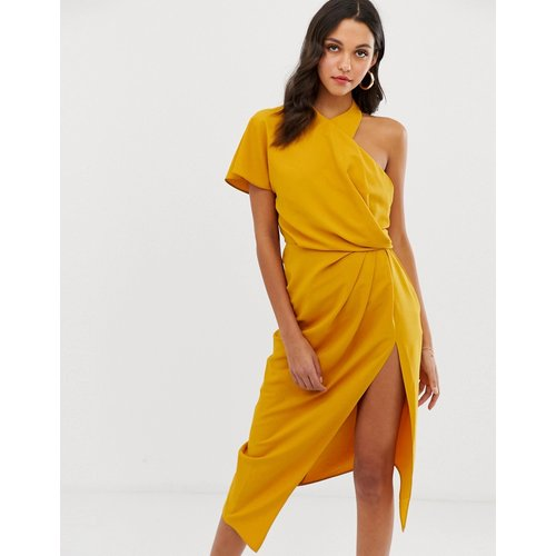Robe mi-longue à détail drapé avec encolure asymétrique - ASOS DESIGN - Modalova
