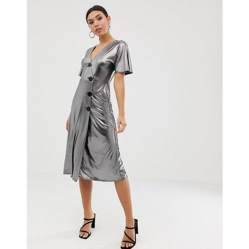 Robe mi-longue avec boutons métalliques - Argent métallisé - ASOS DESIGN - Modalova