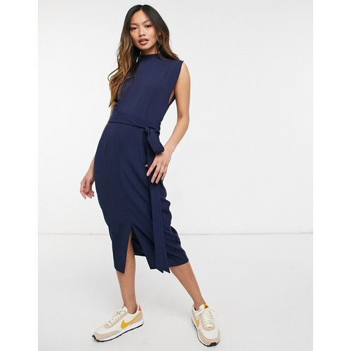 Robe mi-longue avec ceinture obi et manches fendues - Bleu marine - ASOS DESIGN - Modalova