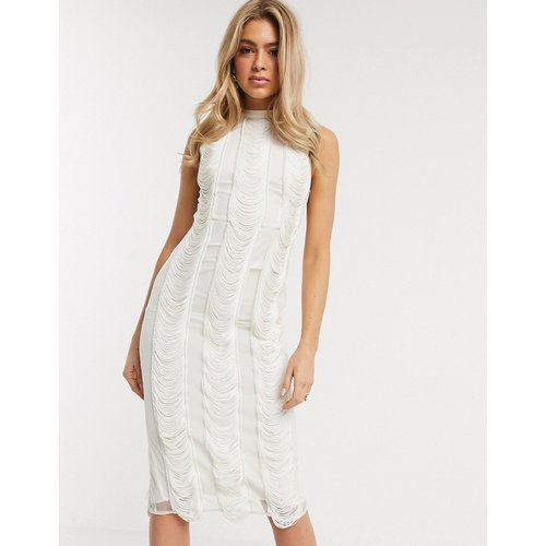 Robe mi-longue avec insert à franges verticales - Crème - ASOS DESIGN - Modalova