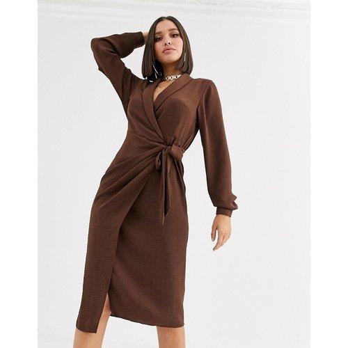 Robe mi-longue cache-cœur avec col - ASOS DESIGN - Modalova