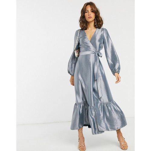 Robe mi-longue cache-cœur en taffetas métallisé - ASOS DESIGN - Modalova