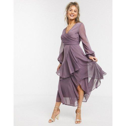 Robe mi-longue croisée à la taille avec jupe double épaisseur et manches longues - Mauve - ASOS DESIGN - Modalova