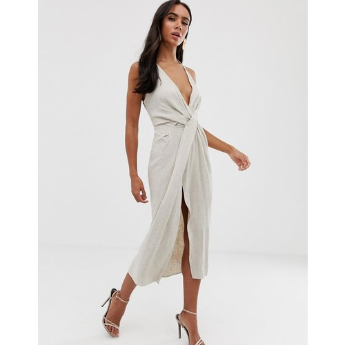 Robe mi-longue dos nu avec taille drapée en lin texturé - ASOS DESIGN - Modalova