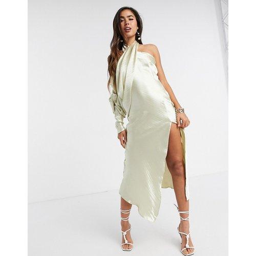 Robe mi-longue dos-nu en satin drapé ultra brilant avec manches froncées - Huître - ASOS DESIGN - Modalova