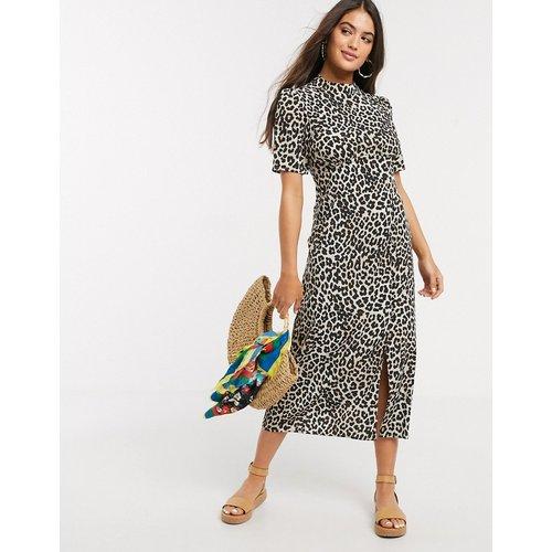 Robe mi-longue fendue avec boutons et imprimé léopard - ASOS DESIGN - Modalova