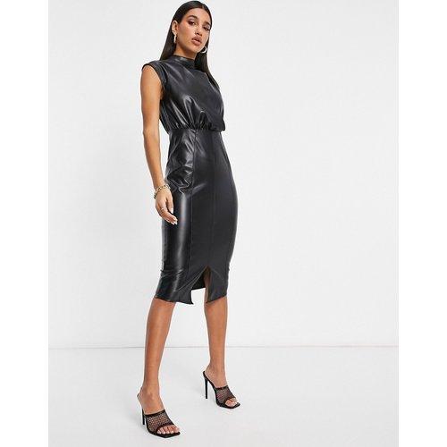 Robe mi-longue imitation cuir drapée - ASOS DESIGN - Modalova