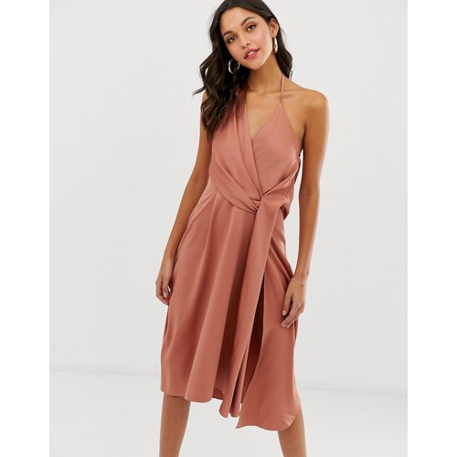 Robe mi-longue minimaliste drapée en satin - ASOS DESIGN - Modalova