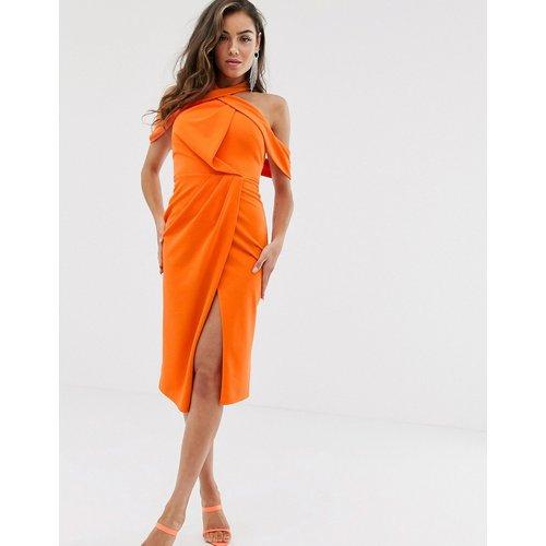 Robe mi-longue moulante drapée dos nu - ASOS DESIGN - Modalova