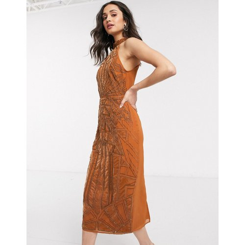 Robe mi-longue ornementée avec broderie appliquée en velours - Rouille - ASOS DESIGN - Modalova