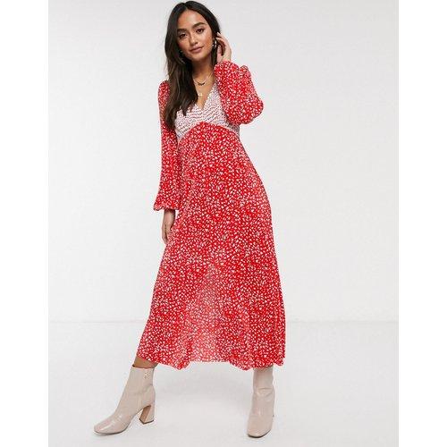 Robe mi-longue plissée à pois - Rouge - ASOS DESIGN - Modalova