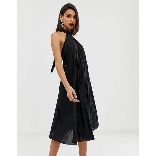 Robe mi-longue plissée dos nu - ASOS DESIGN - Modalova