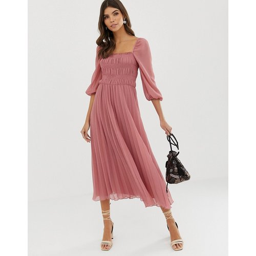 Robe mi-longue plissée et froncée - ASOS DESIGN - Modalova