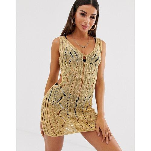 Robe moulante courte au crochet à découpes - ASOS DESIGN - Modalova