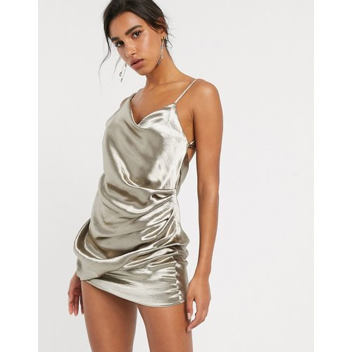 Robe nuisette courte drapée en satin ultra brillant - ASOS DESIGN - Modalova