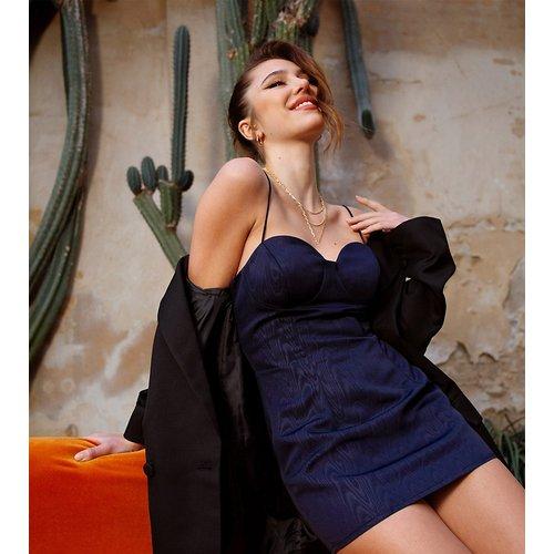 Robe nuisette courte en jacquard structuré - Bleu marine - ASOS DESIGN - Modalova