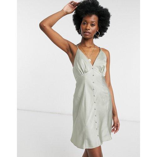 Robe nuisette courte et boutonnée en satin avec fines bretelles - Olive - ASOS DESIGN - Modalova