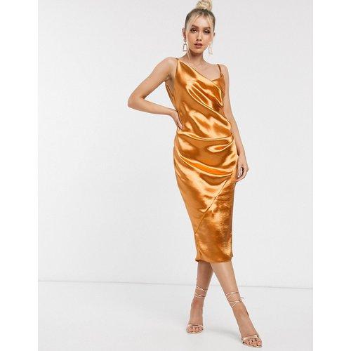 Robe nuisette mi-longue en satin ultra brillant à effet drapé - ASOS DESIGN - Modalova