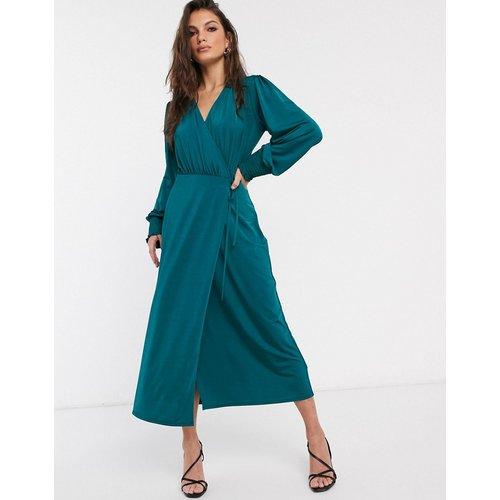 Robe portefeuille mi-longue en jersey satiné - sarcelle - ASOS DESIGN - Modalova
