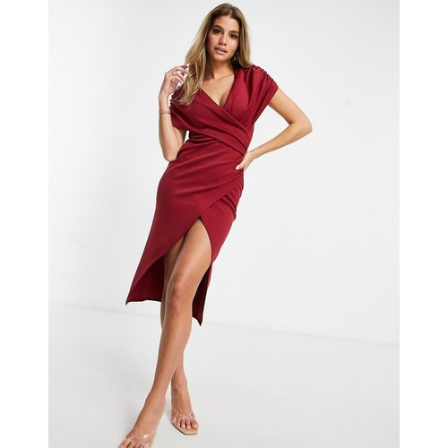 Robe portefeuille mi-longue froncée à manches courtes - Bordeaux - ASOS DESIGN - Modalova